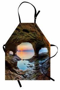 Mağara ve Gün Doğumu Mutfak Önlüğü Deniz