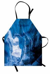 Buzul Mağarası Temalı Mutfak Önlüğü Mavi Beyaz