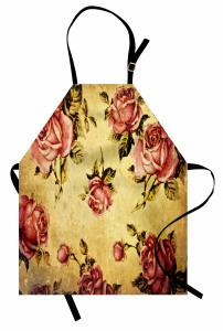 Nostaljik Güller Mutfak Önlüğü Romantik Pembe Gül Desenli