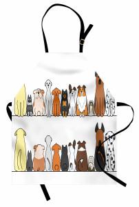 Sevimli Köpek Desenli Mutfak Önlüğü Kahverengi