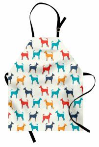 Rengarenk Köpek Desenli Mutfak Önlüğü Kırmızı Lacivert