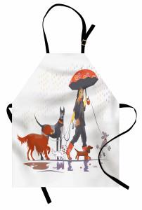 Köpeklerle Gezinti Mutfak Önlüğü Yağmurlu gün