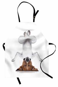 Meditasyon Yapan Köpek Mutfak Önlüğü Meditasyon Beyaz
