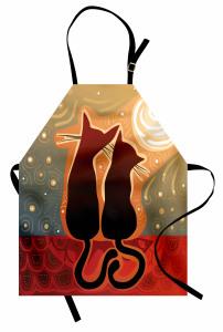 Aşık Kedi Mutfak Önlüğü Gün Batımı Aşık Kedi Desenli
