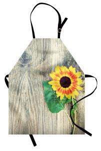 Ayçiçeği Desenli Mutfak Önlüğü Ahşap Arka Planlı