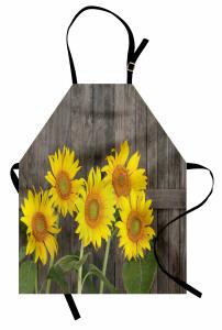 Ahşap Çit ve Ayçiçeği Mutfak Önlüğü Sarı