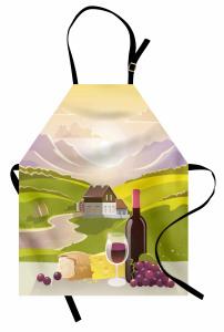 Şarap ve Dağ Manzaralı Mutfak Önlüğü Yeşil Mor