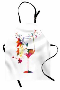 Üzüm ve Kadeh Desenli Mutfak Önlüğü Rengarenk