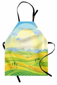 Gün Doğumu Desenli Mutfak Önlüğü Gün Doğumu Sarı Yeşil Mavi