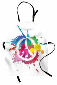 Rengarenk Barış Temalı Mutfak Önlüğü Sulu Boya
