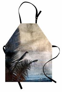 Tropik Ada Manzarası Mutfak Önlüğü Nostaljik Tropik Ada Manzaralı Deniz