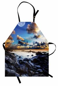Deniz Kıyısı Manzarası Mutfak Önlüğü Dolunay Mavi