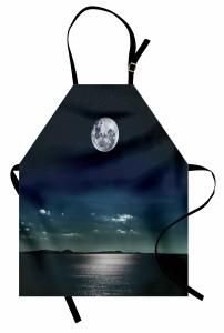 Ay Işığında Deniz Mutfak Önlüğü Siyah