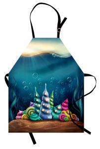 Rengarenk Deniz Kabuğu Mutfak Önlüğü Deniz Kabuğu Mavi