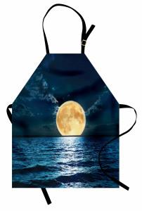 Dolunay Deniz Manzarası Mutfak Önlüğü Romantik