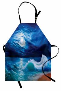 Dalgalı Deniz Mutfak Önlüğü Ay Işığı Romantizm