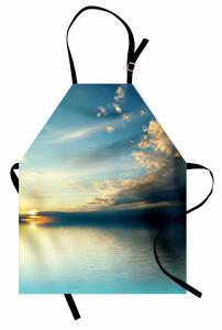 Huzurlu Deniz Mutfak Önlüğü Gün Batımı Sarı Mavi
