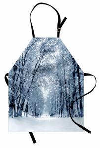 Sessiz Karlı Orman Mutfak Önlüğü Ağaçlar
