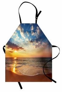Denizde Gün Batarken Mutfak Önlüğü Deniz Gün Batımı
