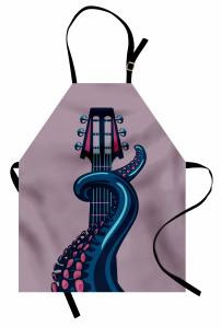 Gitarist Ahtapot Mutfak Önlüğü Gitarist Ahtapot Desenli Müzik