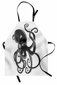 Siyah Beyaz Ahtapot Mutfak Önlüğü Siyah Beyaz Modern Sanat