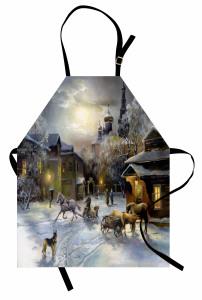 Karlı Kasaba Mutfak Önlüğü Kış Mevsimi
