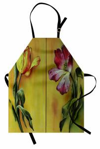 Çiçek ve Su Damlası Mutfak Önlüğü Çiçek Desenli