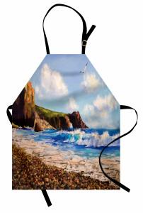 Deniz Kıyısı Desenli Mutfak Önlüğü Deniz Kıyısı