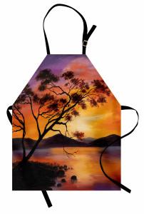 Ağaç Göl ve Dağ Desenli Mutfak Önlüğü Mor Sarı