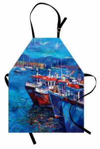 Balıkçı Teknesi Desenli Mutfak Önlüğü Mavi Deniz