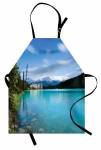Mavi Göl Mutfak Önlüğü Orman Göl Mavi Yeşil