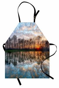 Göle Yansıyan Bulutlar Mutfak Önlüğü Romantik