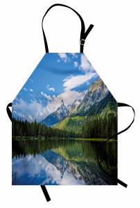 Ağaçlı Göl Desenli Mutfak Önlüğü Ağaçlar Bulutlar Dağ Doğa