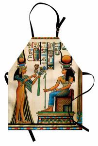 Antik Hiyeroglif Mutfak Önlüğü Rengarenk