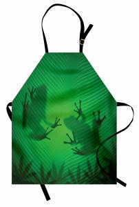 Kurbağa ve Yaprak Mutfak Önlüğü Yeşil
