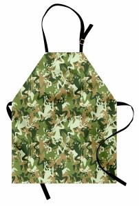 Yeşil Kamuflaj Desenli Mutfak Önlüğü Kurbağalı