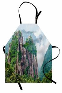 Sisli Dağlar Mutfak Önlüğü Sisli Dağ Orman Yeşil