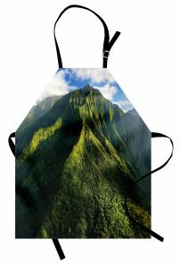 Yeşil Zirveler Mutfak Önlüğü Dağ Manzaralı Doğada Huzur Temalı