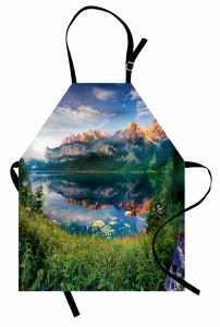 Ormandaki Göl Manzarası Mutfak Önlüğü Göl Dağ Orman Yeşil Doğa