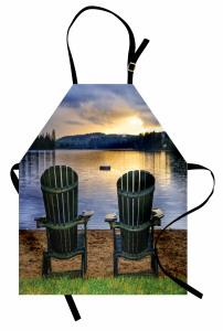 Göl Kıyısında Tatil Mutfak Önlüğü Bulutlu