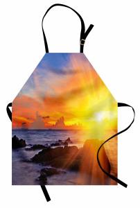Deniz ve Gün Doğumu Mutfak Önlüğü Sarı