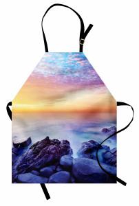 Deniz ve Kayalık Sahil Mutfak Önlüğü Mavi