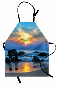 Güneş ve Kayalık Sahil Mutfak Önlüğü Mavi