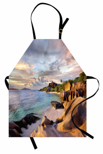 Tropikal Kayalık Kumsal Mutfak Önlüğü Şık