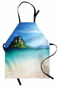 Deniz ve Kayalık Ada Mutfak Önlüğü Şık