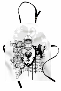 Antik Şövalye Desenli Mutfak Önlüğü Siyah Beyaz