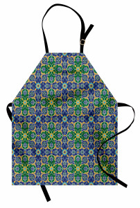 Geometrik Şal Desenli Mutfak Önlüğü Yeşil Mavi