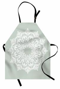 Beyaz Şal Desenli Mutfak Önlüğü Şık Tasarım