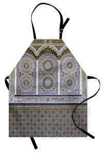 İslam Mimarisi Desenli Mutfak Önlüğü Mavi Beyaz