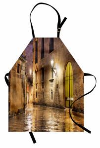 Klasik Barselona Sokağı Mutfak Önlüğü Nostaljik Barselona Sokağı